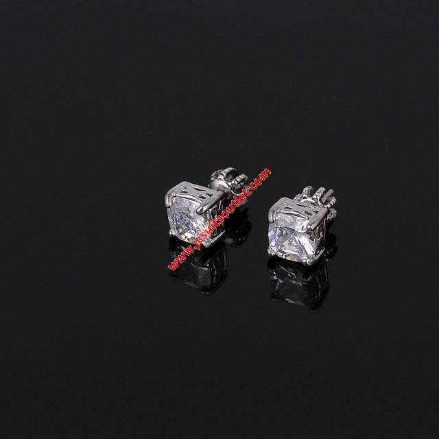 wedding photo - Juicy Couture Silver-Tone Square Zircon Earrings