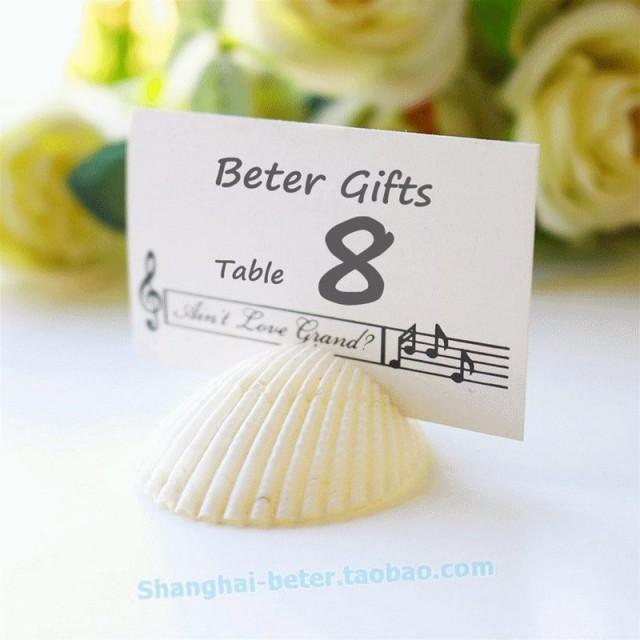wedding photo - https://world.taobao.com/item/524493695107.htm   Shells by the Sea Authentic Shell Place card Holders ZH006 #beterwedding