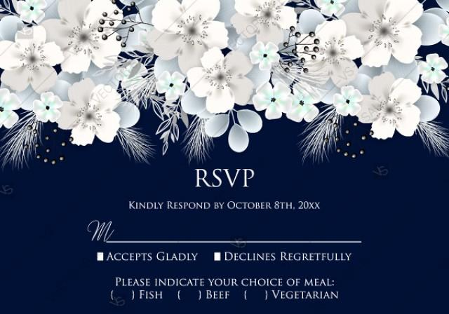 wedding photo - RSVP card white hydrangea navy blue background online invite maker 5''x 3.5''