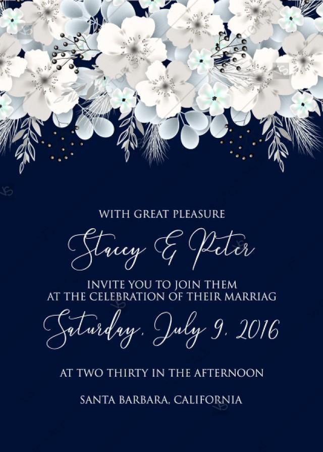 wedding photo - Wedding invitation white hydrangea navy blue background online invite maker 5''x 7''