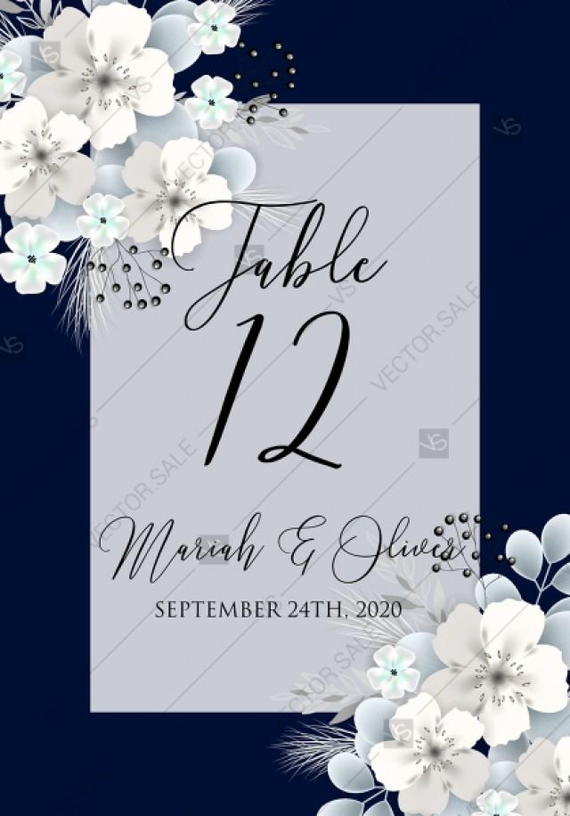 wedding photo - Table card white hydrangea navy blue background online invite maker 5.6''x 4.25''
