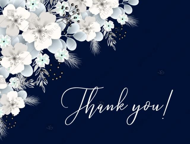wedding photo - Thank you card white hydrangea navy blue background online invite maker 5.6''x 4.25''