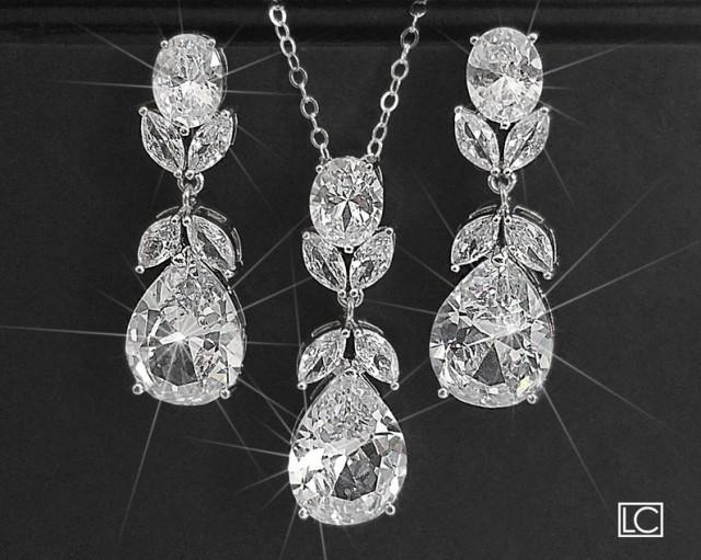 wedding photo - Bridal Jewelry Set, Silver Teardrop Crystal Bridal Set, Wedding Cubic Zirconia Earrings&Necklace Set, Sparkly Jewelry Set, Bridal Zircon Set