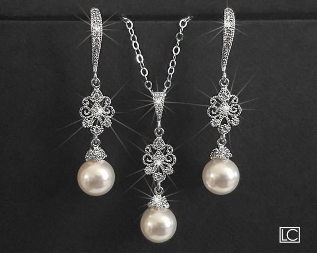 wedding photo - Pearl Bridal Jewelry Set, Earrings&Necklace Jewelry Set, Swarovski 8mm White Pearl Wedding Set, Pearl Wedding Jewelry Set, Bridal Jewelry