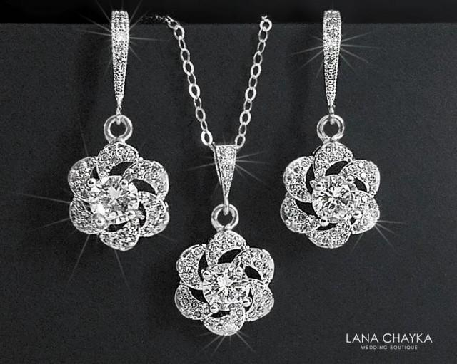 wedding photo - Cubic Zirconia Bridal Jewelry Set, Earrings&Necklace Crystal Set, Camellia Wedding Jewelry Set, Floral Crystal Set, Bridal Jewelry, Prom Set