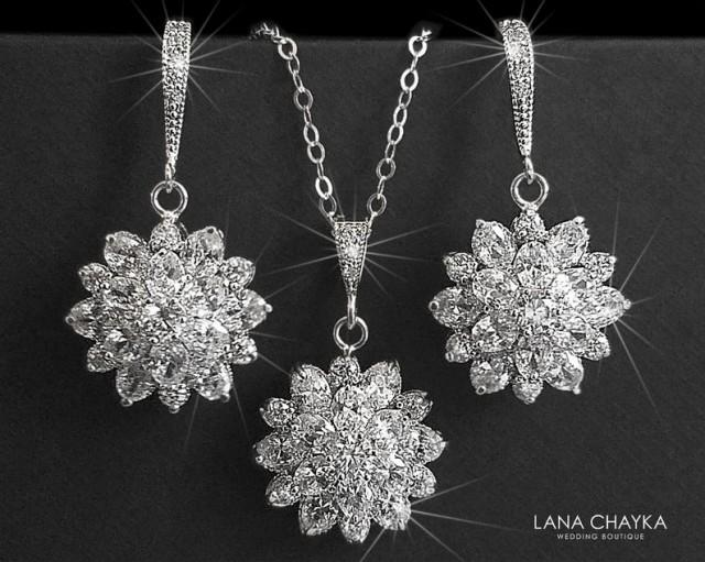 wedding photo - Cubic Zirconia Bridal Jewelry Set, Crystal Flower Earrings&Necklace Set, Wedding Jewelry Set, Bridal Crystal Jewelry, Sparkly CZ Jewelry Set