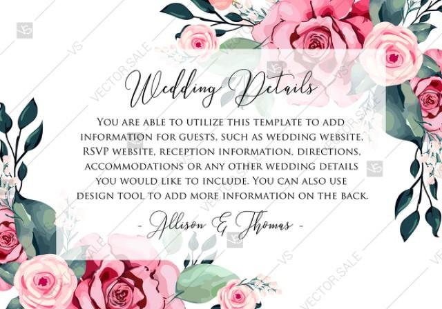 wedding photo - Wedding detail card watercolor rose floral greenery PDF 5x3.5 in custom online editor anniversary invitation