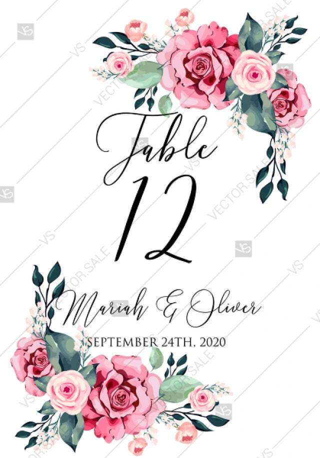 wedding photo - Table card watercolor rose floral greenery 3.5x5 in PDF custom online editor baby shower invitation