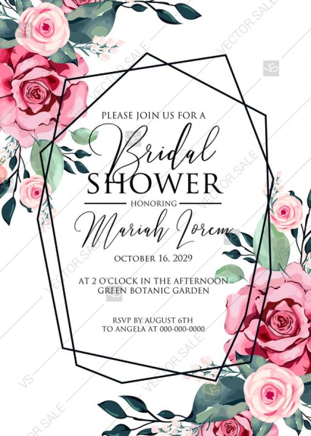 wedding photo - Bridal shower invitation watercolor rose floral greenery 5 x 7 in PDF custom online editor