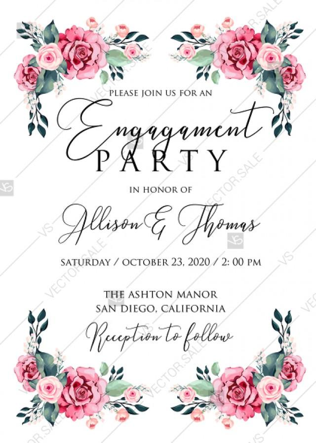 wedding photo - Engagement invitation watercolor rose floral greenery 5 x 7 in PDF custom online editor thank you card