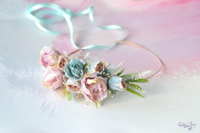 wedding photo - Blue peach flower crown Bridal floral crown Wedding flower crown Bride Boho wedding headband Photo Prop crown blush pink blue