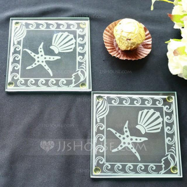 wedding photo - BeterWedding Shell and Starfish Frosted Glass Coasters Souvenir