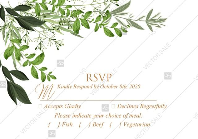 wedding photo - RSVP greenery herbal template watercolor edit online 5x3.5 in pdf