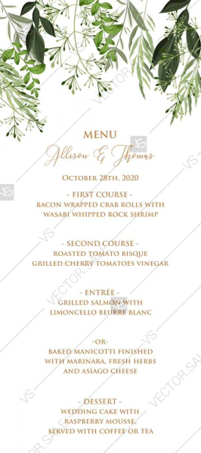 wedding photo - Menu design greenery herbal watercolor template edit online 4x9 in pdf