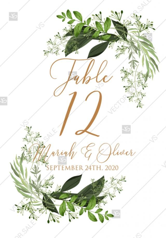 wedding photo - Table card greenery watercolor herbal template edit online 3.5x5 pdf