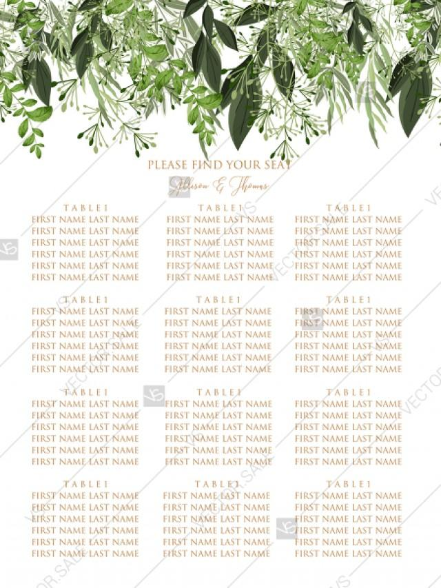 wedding photo - Seating Chart wedding watercolor greenery herbal template edit online 18x24 in pdf