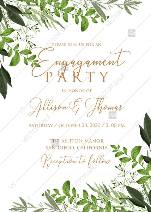 wedding photo - Engagement invitation watercolor greenery herbal template edit online 5x7 pdf