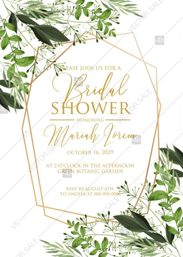 wedding photo - Bridal shower invitation watercolor greenery herbal template edit online 5x7 in pdf