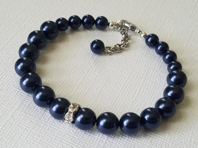 wedding photo - Navy Blue Pearl Bracelet, Swarovski Night Blue Bracelet, Dark Blue Silver Bracelet, Wedding Navy Blue Jewelry, Wedding Deep Blue Bracelet