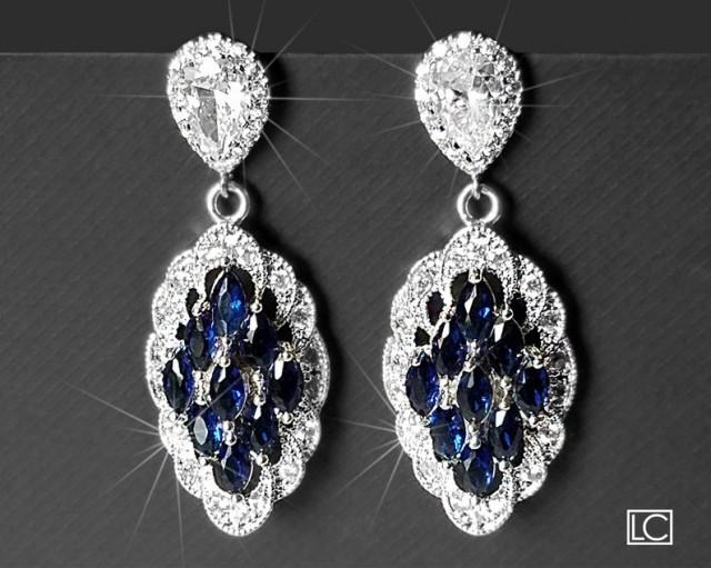 wedding photo - Navy Blue Bridal Earrings, Marquise Wedding Earrings, Sapphire Cubic Zirconia Silver Earrings, Wedding Earrings, Dark Blue Statement Earring