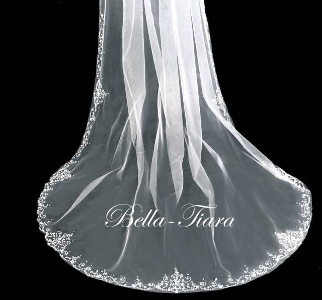 cathedral beaded wedding veil, extra crystal cathedral veil, floor length wedding veil, royal cathedral veil - free blusher
