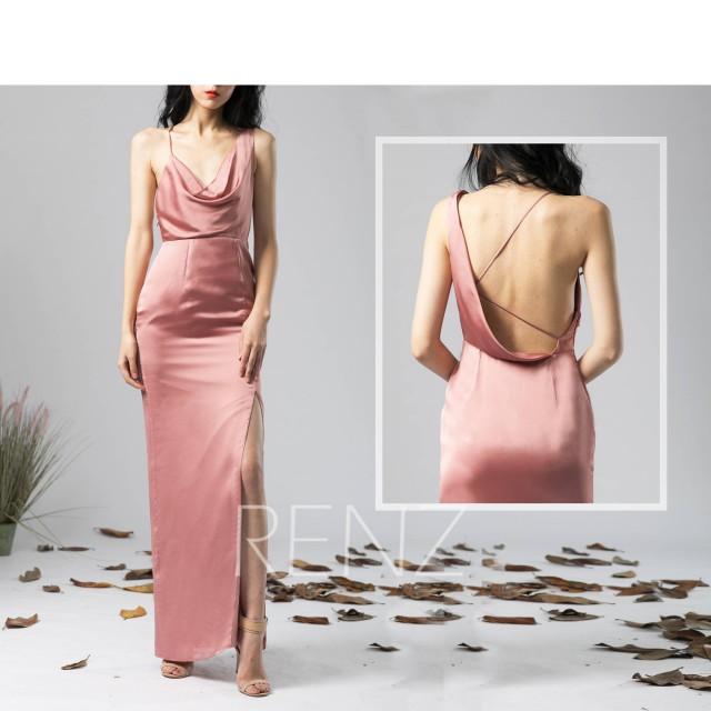 Party Dress Dusty Rose Satin Chiffon Evening dress Slit Asymmetrical Draped V Neck Maxi Dress One Shoulder Backless Bridesmaid Dress (H573)