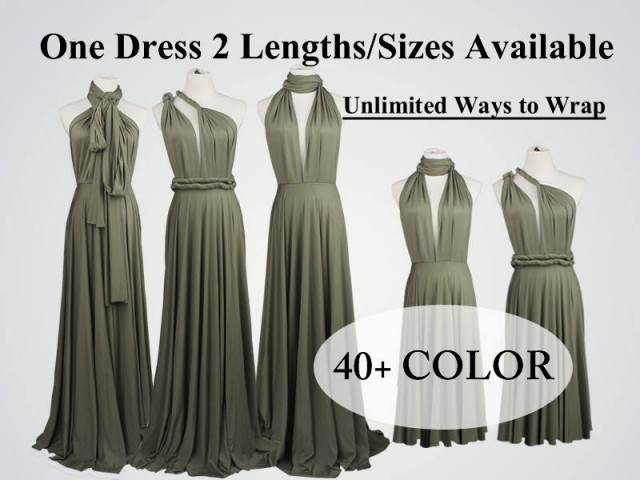 wedding photo - Olive green Bridesmaid Dress long bridesmaid dress short infinity dress Light olive convertible bridesmaid dress Any occasion dresses