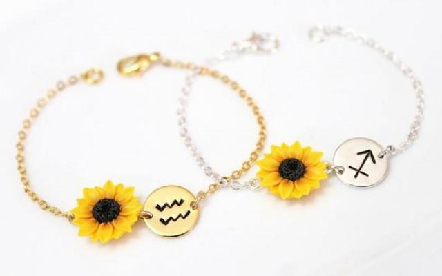 wedding photo - Sunflower Bracelet, Zodiac Bracelet, Zodiac Jewelry, Capricorn Zodiac Charm, Capricorn Birthday Gift, Capricorn Astrology Bracelet