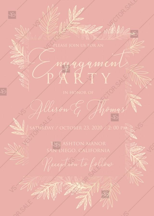 Wedding Invitation Cards Embossing Blush Pink Gold Foil