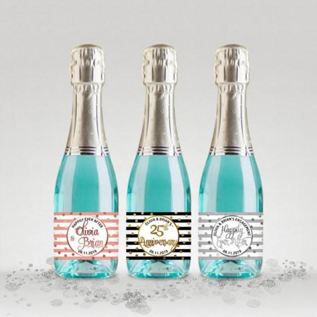 wedding photo - Wedding Party Mini Champagne Bottle Labels, Customized - Black-White-Gold, Silver or Rose, Mini Labels - DIY Print, Printable PDF - #GSR