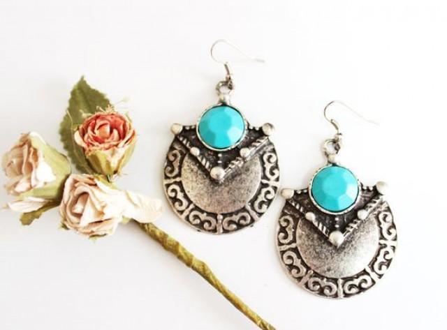 wedding photo - Silver Turquoise Earrings Statement Earrings Tribal Ethnic Fashion Earrings Bohemian Earrings Dangle Earrings Gift For Women Girlfriend Gift