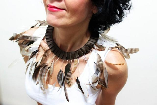wedding photo - Real Feather Bib Necklace Feather Collar Avant Garde Feather Necklace Halloween Statement Necklace Slave Collar Feather Jewelry Gift For Her