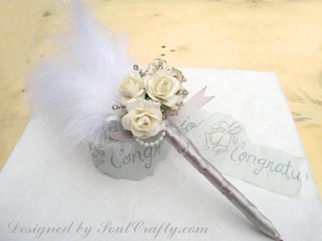 wedding photo - Cream Rose Wedding Guest book pen for Gatsby Wedding made of Mulberry Paper Roses Wedding Guestbook Pen
