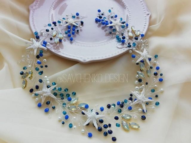 wedding photo - Something blue beach wedding hair accessories aqua blue starfish tiara