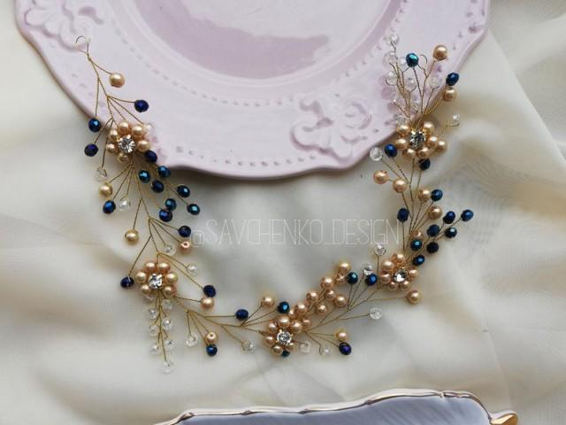 wedding photo - Gold and Royal blue Bridal hair vine