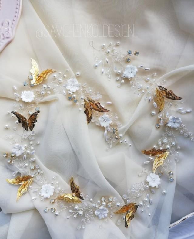 wedding photo - Gold butterfly crown, wedding hairpiece,Fall Rustic woodsy wedding