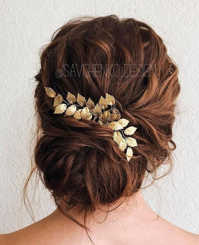 wedding photo - Gold leafs boho headpiece supply