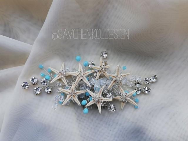 wedding photo - something blue mermaid hair piece, beach wedding headpiece hair accessories, seashell costume Ariel Bridal seashell hair comb starfish