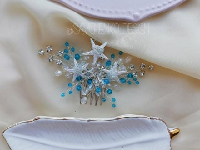 wedding photo - Beach wedding hair accessories Blue Bridesmaids gifts Aqua Blue Starfish Hair clip Mermaid crown Starfish crown seashell hair accessories