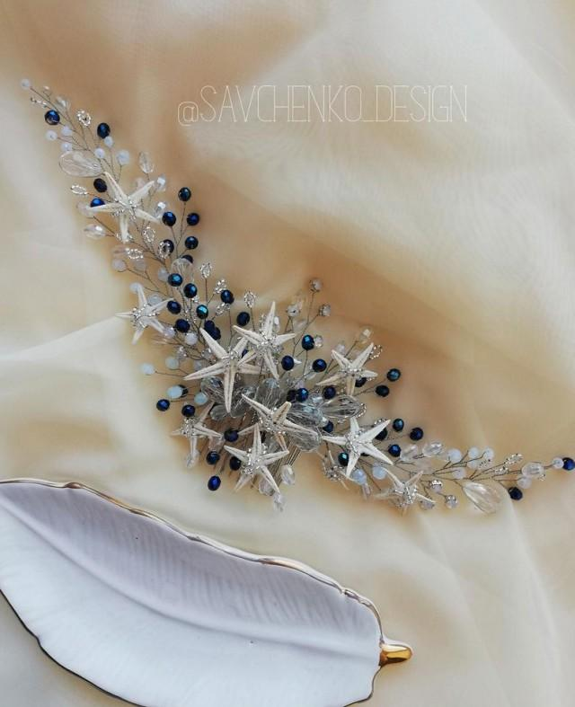 wedding photo - royal blue mermaid hair piece