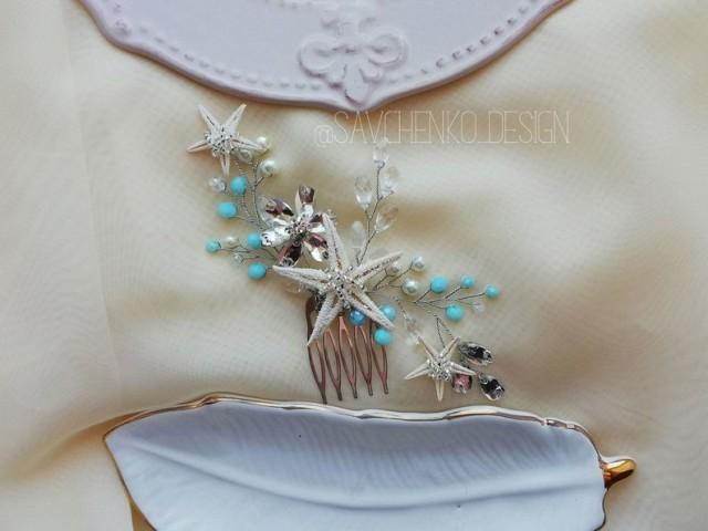 wedding photo - blue beach wedding hair accessories
