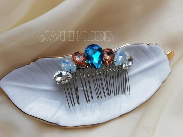 wedding photo - Moonstone bridal hair comb