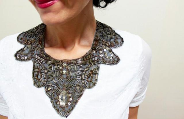 wedding photo - Hand Embroidered Beaded Collar Bib Necklace Statement Ethnic Tribal Necklace Shabby Chic Collar Necklace Embellished Collar Gift For Her