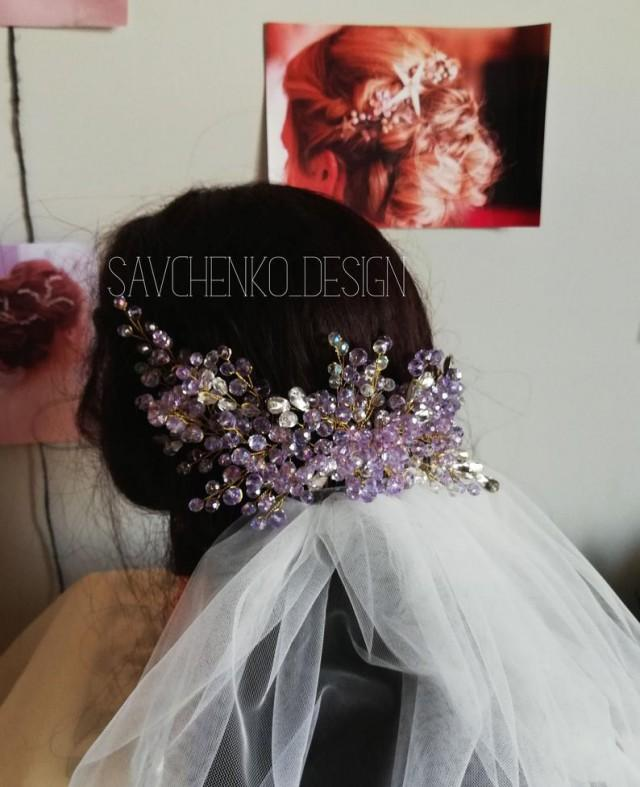 wedding photo - Purple wedding hair accessory, amethyst hair comb, Purple stone hair vines for bridesmaid, violets hair clip, bridal lavender headpiece