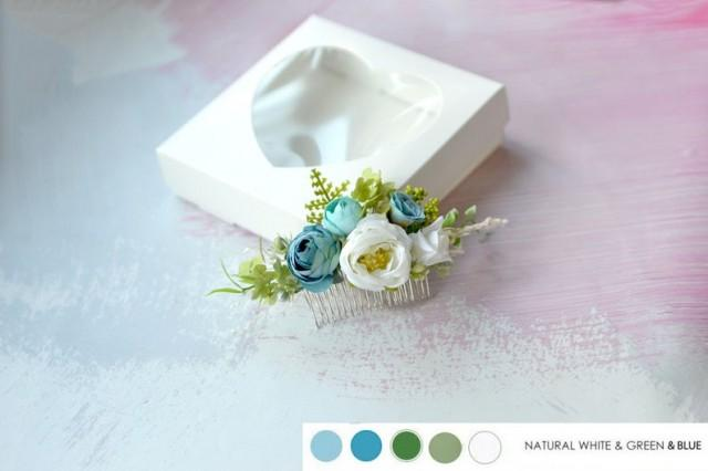 wedding photo - White blue wedding fascinator, Floral hair comb, Wedding flowers hair piece, Blue Greenery hair comb, Bride flower comb dried hydrangea