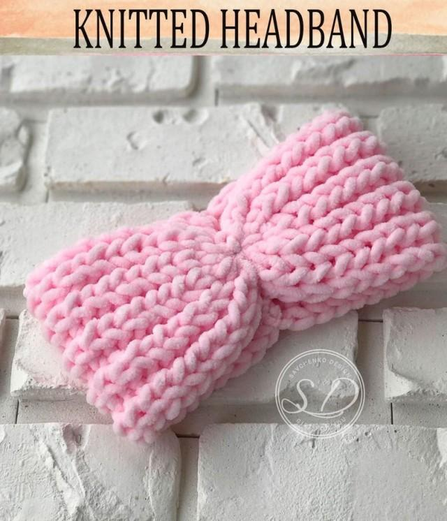wedding photo - Knitted headband Hat Knit EarWarmer Head wrap Winter Turban Wrap Pink Christmas Womens gift under 20 Autumn Headband Winter Trend plush yarn