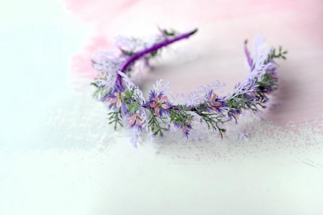 wedding photo - Purple headband, Rustic flower halo, Wildflowers tiara, Woodland hair crown, Wedding woodland tiara, Forest headpiece