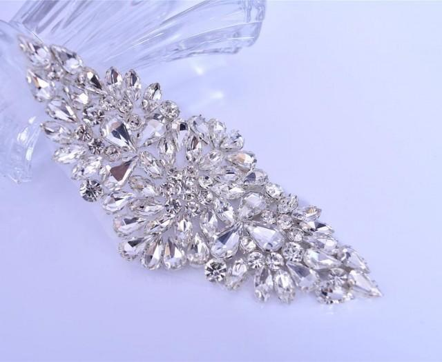 wedding photo - Rhinestone Garter Applique Crystal Sash belt Motif Dress Shoulder Appliques Bling Embellished for Bridal Bouquet