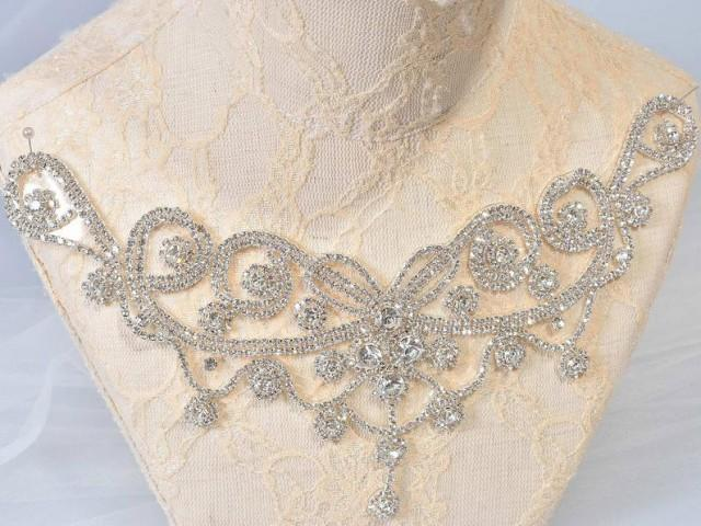 wedding photo - Iron on Rhinestone Neckline Trims Crystal Belt Diamante Water drop Applique Bling Accent for Wedding Dress, Party Costumes