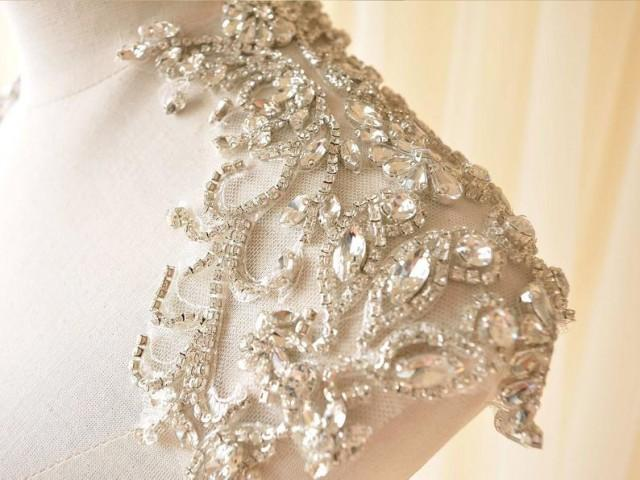 wedding photo - Mirror Pair Bridal Shoulder Applique Rhinestone Crystal Patches for Wedding Dresses DIY Party Costumes